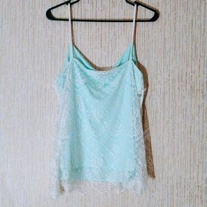 Maurices Baby Blue layered lace Cami